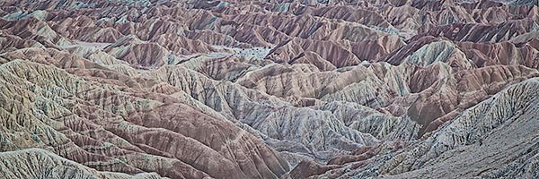 Overview of badlands at sunset, Font's Point, Anza-Borrego SP